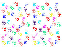 Handprints of children Stock Photos