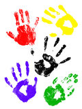 Handprints of childs. Handprint of a child with colors Royalty Free Stock Image