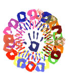 Handprints circle multicolor Royalty Free Stock Image