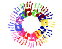 Children handprints circle multicolor isolated on white background Stock Image