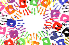 Child handprints circle multicolor, white background Royalty Free Stock Photography