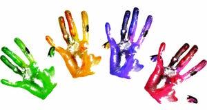 Handprints colorés Photos libres de droits
