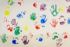 handprints colorés Images libres de droits
