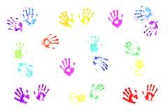 Handprints colorés par des gosses Photo libre de droits