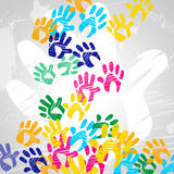 Handprints Color Indicates Drawing Artwork And Colors Stock Photography