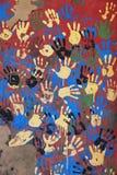 Handprints colorati Fotografia Stock
