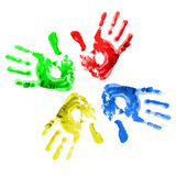 Handprints coloreados multi. Fotos de archivo