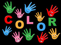 Handprints Colorful Indicates Vibrant Child And Creativity Stock Photography
