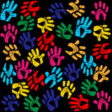 Handprints Colourful Means Background Vibrant And Watercolor Royalty Free Stock Image