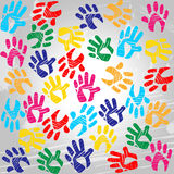 Handprints Colourful Means Drawing Colors And Painted Stock Photography