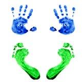 Handprints da aguarela e bebê pequeno das pegadas fotos de stock