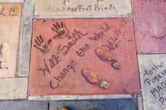 Handprints dans Hollywood Boulevard Images libres de droits