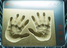 Handprints de Jet Li de la avenida de estrellas, Hong Kong Imagenes de archivo