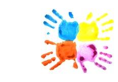 Handprints del bambino blu e di rosa isolati su bianco royalty illustrazione gratis
