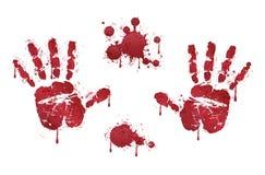Handprints del horror y gotas de sangre rojos sangrientos Imagen de archivo libre de regalías