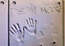 Handprints of Demi Moore Royalty Free Stock Photo