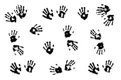Handprints der tatsächlichen Kinder auf Weiß Lizenzfreie Stockfotos