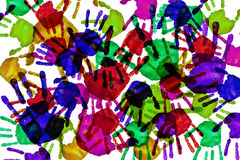 Handprints of different colors Stock Photo