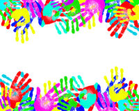 Handprints of different colors Royalty Free Stock Photography