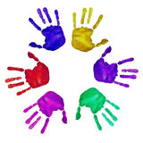 Handprints of different colors Stock Photos