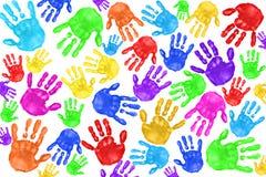 Handprints dipinto a mano dei bambini Immagini Stock Libere da Diritti