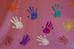 Handprints en lona Imagen de archivo libre de regalías