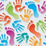 Handprints & footprints 3d seamless wallpaper. Stock Photography