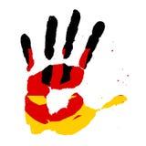 Handprints in Form einer Flagge von Deutschland, Bild der Einheit, Freiheit, Unabhängigkeit gelbes schwarzes rotes Tintenimpressu stockbild