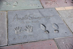 Handprints on ground in cement of Arnold Schwarzenegger Stock Image