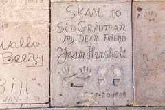 Handprints of Jean Hersholt Stock Photo