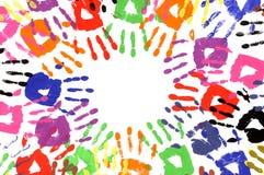 Handprints-Kreis Mehrfarben Lizenzfreie Stockfotografie