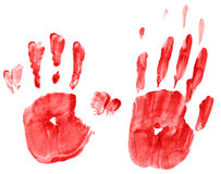 Handprints manchados fotografia de stock royalty free