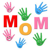 Handprints Mom Represents Human Watercolor And Painted Royalty Free Stock Photo