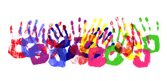 Child handprints row multicolor border Stock Images