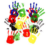 Child hand prints multicolor group overlapping isolated on white background Royalty Free Stock Photos