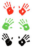 Several pairs of child hand prints multicolor isolated on white background Stock Photography