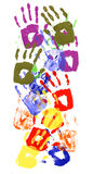 Child handprints multicolor vertical border Royalty Free Stock Photos