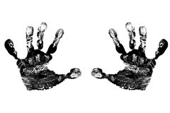Handprints negro del niño Foto de archivo