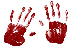 Handprints, red brown, isolated on white background Royalty Free Stock Images