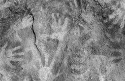Handprints on rock Royalty Free Stock Image