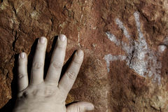 Handprints on rock Royalty Free Stock Photography