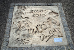 Handprints of Scorpions band members Stock Photo