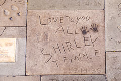Handprints of Shirley Temple. LOS ANGELES - JUNE 26: handprints of Shirley Temple in Hollywood on June 26,2012 in Los Angeles. There are nearly 200 celebrity royalty free stock photography