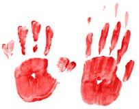 Handprints spalmati Fotografia Stock Libera da Diritti