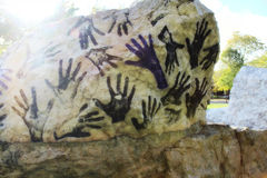 Handprints on the stone Royalty Free Stock Photos