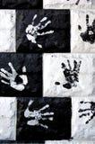 Handprints sur le mur Photos libres de droits