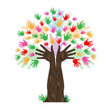 Handprints Tree Means Hands Together And Artwork Royalty Free Stock Images