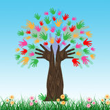 Handprints Tree Shows Hands Together And Artwork Royalty Free Stock Images