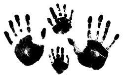Handprints van een man, een vrouw, een kind Vectorsilhouet op witte achtergrond royalty-vrije illustratie
