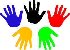 Handprints (vector). Handprint with the colors of the five continents Royalty Free Stock Photography